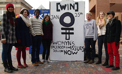UNC students are hosting the Womyn's Issues Now [WIN] Conference this Saturday at the Union. The event will feature different presenters discussing current women's issues, such as reproductive rights, violence against women, and women in the media.   From left to right: Serena Ajbani, Cara Schumann, Ishmael Bishop, Isabella Higgins, Dakota Powell, Rachel Faulk, and Holly Sit.
