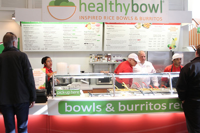 Healthy Bowl is now OPEN! It's alongside Freshens. Now the location is split between smoothies on the left, and burritos and rice bowls on the right.