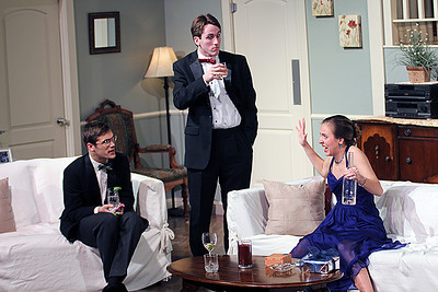 Sam Fletcher, Griffin Gast and Betsy Alexandre (from left) in the production of Rumors starting Thursday, Jan. 30 at 8p.m. at Kenan Theatre in the UNC Center for Dramatic Art. Rumors is the first collaboration of The Lab! Theatre and Kenan Theatre Company and admission to the show is free.