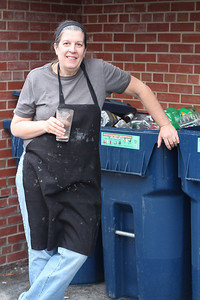 "Meg Miller has been key to the recycling initiative in DKE. ""We average about seven bins a week."" In addition to recycling, Meg has implemented composting. She's hoping to steer away from styrofoam plates and cups and find a more environmental friendly alternative."