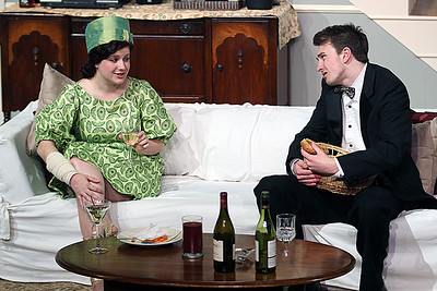 Chrissy Garwood and Cameron Stuart (from left) in the production of Rumors starting Thursday, Jan. 30 at 8p.m. at Kenan Theatre in the UNC Center for Dramatic Art. Rumors is the first collaboration of The Lab! Theatre and Kenan Theatre Company and admission to the show is free.