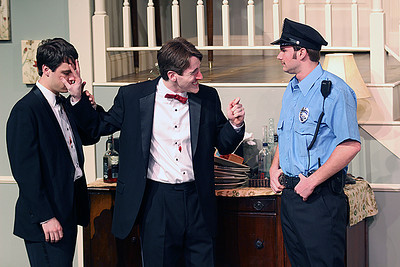 Byron Frazelle, Griffin Gast, and Drew Patrick (from left) in the production of Rumors starting Thursday, Jan. 30 at 8p.m. at Kenan Theatre in the UNC Center for Dramatic Art. Rumors is the first collaboration of The Lab! Theatre and Kenan Theatre Company and admission to the show is free.
