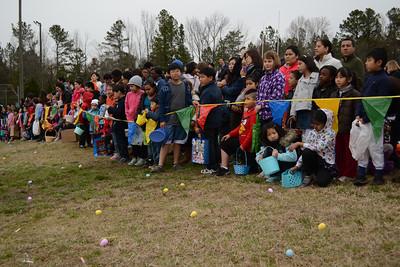 Children line up for the Orange County Easter Egg Hunt.