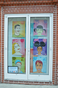 """Everyday People"" by Franco Windows on Chapel Hill is a collaborate year-long project between the Chapel Hill Downtown Partnership and Town of Chapel Hill Public and Cultural Arts Office to bring eye-catching pop-up art displays to downtown storefronts, promote artists in our community, and further establish downtown Chapel Hill as a dynamic community for art."