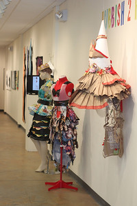 "Dresses made solely from recycled materials are featured at the FRANK Gallery's current exhibition: Rubbish 2 Runway, on display since May 7th until July 7th. Designers who have submitted their work for this ""trashion"" show and exhibit range from high school to professional level artists."