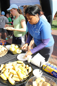 Jasmyne McClain refuels after taking part in the Turkey Trot 5K held by Campus Recreation on Sunday morning. Jasmyne said that she had a good run and was surprised at how well she did.