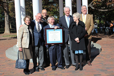 On Friday, November 15, the College of Arts and Sciences presented Gene Allen Holland a long-awaited degree. Gene Holland attended UNC from 1962 to 1965 and continued his education at the School of Dentistry at UNC. He received his Doctor of Dental Surgery and then joined the faculty in the school in 1968 until retiring in 1997. After requesting to receive his undergraduate degree a couple years into dentistry school, the chancellor at the time did not carry out the request, deeming it unnecessary since he was already into his D.D.S. After fifty years, he finally was awarded his undergraduate diploma, just in time for his graduating class' fifty year reunion!