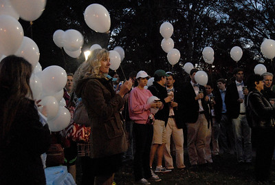 Students, faculty, and friends gather on the Morehead Planetarium lawn on Tuesday before releasing balloons in honor of the students who have passed as part of UNC's Tar Heels Forever.
