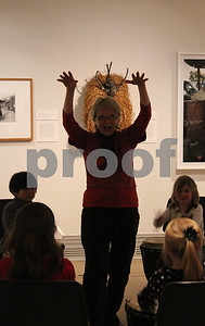 "On Sunday the Ackland Art Museum hosted Family Day, drawing community members and their children in to experience cultural activities including an African drumming lesson. Jennifer Biermann brought her two daughters, Isabel and Sophie Fargo to enjoy the music and learn a few drum tips. Biermann was pleased with the event, commenting that it was ""such a warm activity for such a cold day"" and that in terms of cultural children's activities, she ""lives for these things."" Pictured is Cathy Kielar of Music Explorium, the drum teacher for the afternoon."