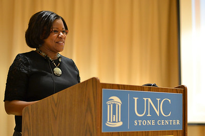 Shamecca Bryant, executive director of the Orange County Rape Crisis Center, explained her platform at the Women's Center director open forum at the Hitchcock Room in the Stone Center Thursday. Bryant emphasized the disparity between women's and men's pay rates, importance of the women and gender studies department, and more.