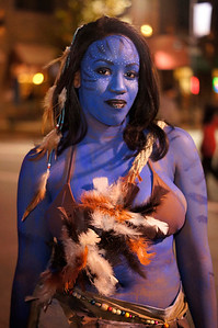A&T Senior Christina Fenwick came to Franklin St. dressed up as a Na'vi from Avatar.