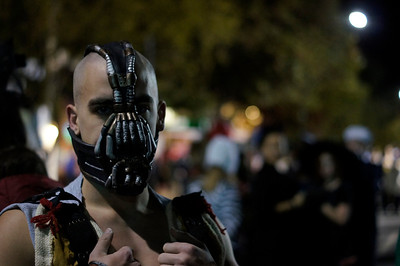 "Matt Spear dressed up as Bane, the villain from ""The Dark Knight Rises""."