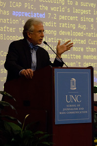 "Matthew Winkler, Editor-in-Chief of Bloomberg News, addresses students and guests on the campus of The University of North Carolina at Chapel Hill on October 16th, 2012 in the George Watts Hill Alumni Center. Mr. Winkler's lecture was titled, ""2012: The Economy Election""."