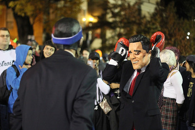 Dylan Moore dresses up as Barack Obama, and Chad Pierce dresses up as Mitt Romney.