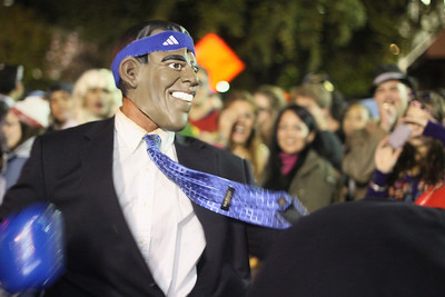 Dylan Moore dresses up as Barack Obama.