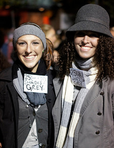 Freshman linguistics and Spanish major Brook Farmer and Freshman graphic design major Kristi Walker  represent 50 Shades of Gray.
