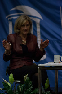 Mary Junck spoke in Carroll hall to a room of journalism students. Junck is the chairman of the Board of Directors at The Associated Press, as well as the President and CEO of Lee Enterprises and a graduate of the masters program at the UNC School of Journalsm. She spoke about the role of women in journalism.