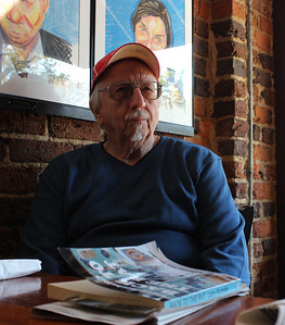 "Larry Rochelle, author of ""Back To the Rat,"" visits Spanky's restaurant on East Franklin Street where the action takes place in the book."