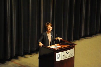 "Chancellor Carol L. Folt spoke about the future of UNC and her plans to make changes as a part of Dean's Speaker Series at Koury Auditorium at the UNC Kenan-Flagler Business School on Monday night. ""UNC may be ground zero for the future of higher education in America,"" said Folt."