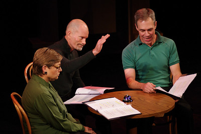 "Jim Bullock, a member of the graduating class in the Writing for the Screen and Stage Program at UNC, wrote ""When the Bell Rights, You Shut the **** Up,"" a one-act play that was part of ""Long Story Shorts."" This was performed at the Center for Dramatic Art.  The actors present are Elisabeth Lewis Corley (left), John Paul Middlesworth (right), and Gren Hohn (middle)."