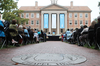 The installation ceremony of UNC's eleventh chancellor, Carol Folt, was held on University Day, October 12. The ceremony took place outside of South Building at 2 pm and a reception was held in Polk Place after the ceremony.