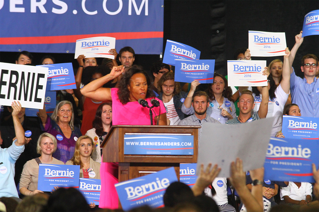Supporters of presidential candidate Bernie Sanders attend a rally on Sept. 13, 2015 in Greensboro.