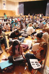 "Several students waited in line inside the Great Hall of the Student Union on Tuesday morning to get tickets to see J. Cole perform at UNC on November 4th. Students started lining up at around 7 a.m. and the tickets were handed out at noon.  Shayla Nasiri (left), junior, Political Science and Religious Studies major, waits in line with her friend Morgan Markham (right), junior Psychology and Global Studies major. ""It's going to be definitely worth it,"" Shayla said. Shayla got to the Union at 6:45 a.m. Tuesday morning. The girls said that when they found out J. Cole coming they were like ""we have to go"" because he is from Fayettville and went to their High School."