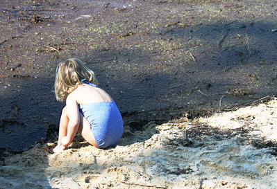 Pri Finkral, age 4, plays with along the shore of Eastwood Lake as she drags a stick through the thick sediment. Eastwood Lake, off Lake Shore Drive in Chapel Hill, is filling quickly with sediment and erosion because of work on developments in the area. Residents are asking council to move up the date to discuss the issue.