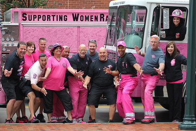 "Founder Dave Graybill (pictured far left) unifies firefighters, police officers, and civilian volunteers from across the nation in support of Pink Heals. Graybill pointed out that he's ""created a program that stimulates the communities to start fundraising with the program and giving it back to the people in the community that are battling all things, starting with cancer. The motivator is the woman."""