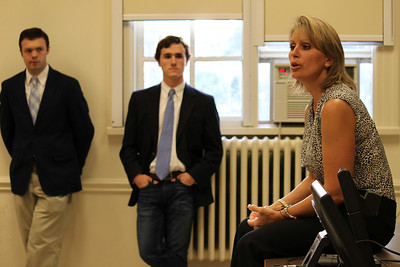 Congresswoman Rene Ellmers who Represents the 2nd District in North Carolina in the House of Representatives gives a speech to UNC College Republicans on Monday night in Bingham Hall. Peter N. McClelland (right) Political Science/ History Major Benjamin Smith (left) Political Science/ History Major