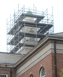 Construction for replacing the cupola that sits atop Manning Hall is underway.