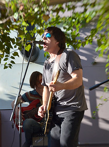 "David George spoke of his band, Lazy Circle, at the Carrboro Music Festival on Sunday, September 29th. ""[The band] is sort of like a chameleon that changes colors. There's no real hard structure and we play on the capabilities of everyone"""