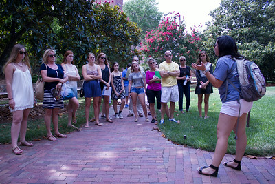 Fanny Laufters, a senior Psychology Major, gives a campus tour to interested rising seniors from various states across the country.