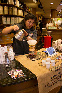 Reiko Tanaka from Carrboro Coffee Roasters uses the Pour Over technique to brew various coffee roasts. This coffee tasting event was held on June 28, 2014 from 11:00am to 4:00pm at the Coffee Counter in Southern Seasons.