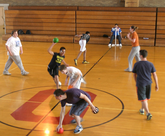 Dodge This...<br /> Mark Newman/The Courier<br /> Gym students at Ottumwa High School finished running laps and were rewarded with an intense variation of dodge ball Monday. The goal, phys. ed. teachers say, is to get kids on the road to life-long fitness.