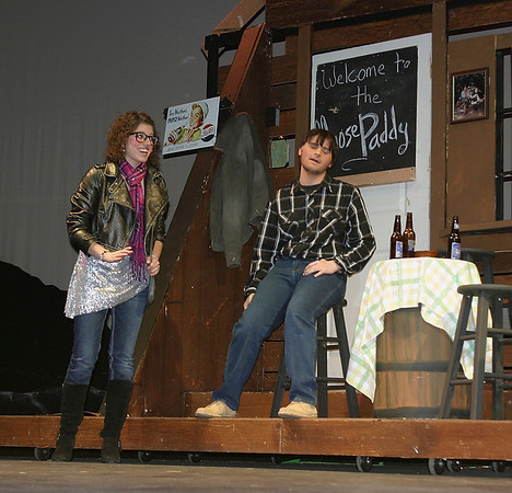 """Larissa Mincks and James Canny perform during an advance staging of """"Almost, Maine"""" at Ottumwa High School on Wednesday. <br /> Mark Newman"""