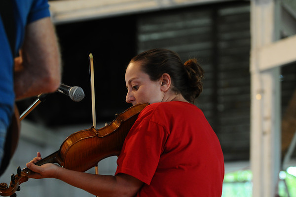 Angie Lennie, of Ottumwa, participates in the Fiddler's Contest in Pioneer Hall at the Iowa State Fair on Aug. 11. (Iowa State Fair/ Steve Pope Photography)