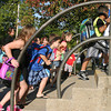Mark Newman<br /> Excited kids head for their classrooms Wednesday on the first day of school at Wildwood. Grades 1-6 had a full day, kindergarten students had a half day.