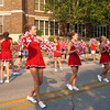 Mark Newman/The Courier<br /> Cheerleaders at Ottumwa High School show pride in their school during the back-to-school block party Thursday.