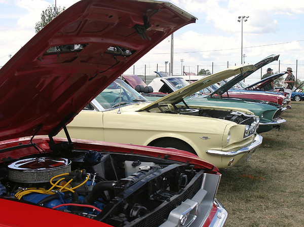 The Mustang dominated the center of the display area, with cars from the 60s sitting a few feet from brand new pony cars.
