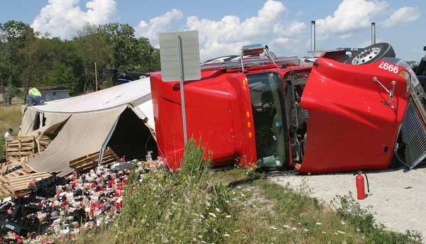 A rollover accident on Highway 34 coming into Ottumwa. No one was killed, police say. <br /> Mark Newman/Ottumwa (Iowa) Courier reporter