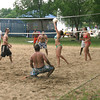 It may have been warm Monday, but the volleyball court at The Beach Ottumwa was shaded and busy.