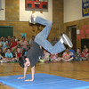 """The Agassiz Elementary School talent show Thursday had a variety of performances, like singing, jumping rope and playing an instrument. Here, Cody Pilcher stuns the audience with some of his """"Step Up"""" moves."""