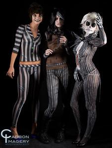 Sweeney Todd/Artist: Amber Frederick/Model: Kira Lake Jack Skellington/Artist: Jez Roberts/Model: Stephanie Faires Beetlejuice/Artist: Lizz Daley/Model: Laramie Kristian Foster