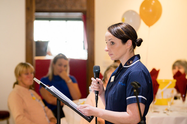 Andrea Cameron a Marie Curie nurse gave a speech about how rewarding her job is at the 2018 ladies lunch for Marie Curie)  PHOTO BY JOHN PAUL PEEBLES OF ABRIGHTSIDE