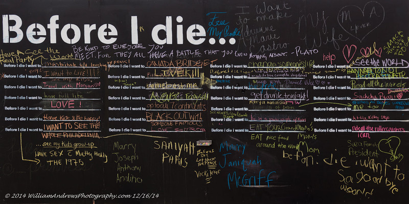 """Candy Chang's Art Wall Exhibit entitled, """"Before I Die..."""" can be written on at 38th & Powelton Streets (University City) Philadelphia, PA 12/16/14"""
