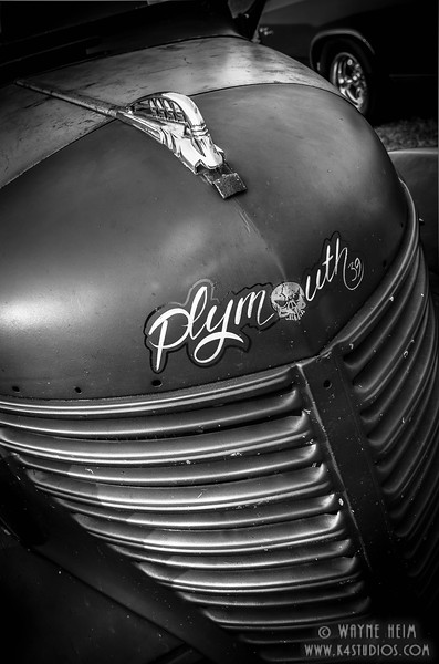 Plymouth Hood - Black & White Photography by Wayne Heim