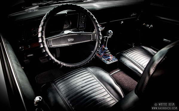 Front seat of Classic Camero   Photography by Wayne Heim