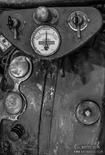 Harley Dashboard - Black & White Photography by Wayne