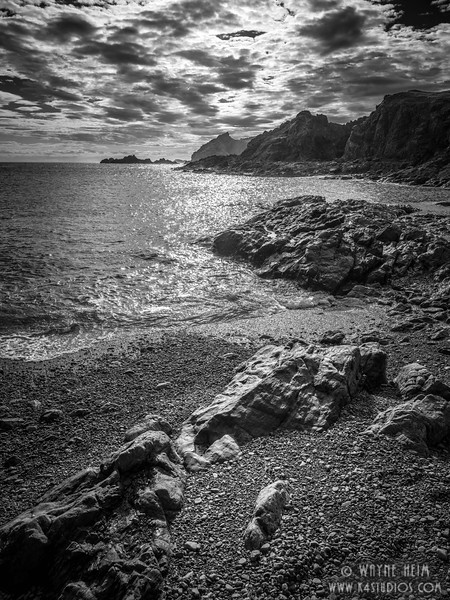 Rocks on the Beach    Black and White Photography by Wayne Heim